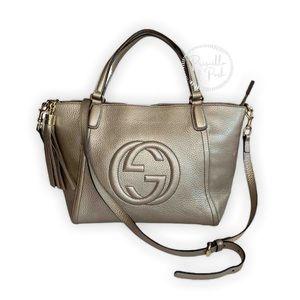 Gucci Soho Top Handle Metallic Leather Satchel